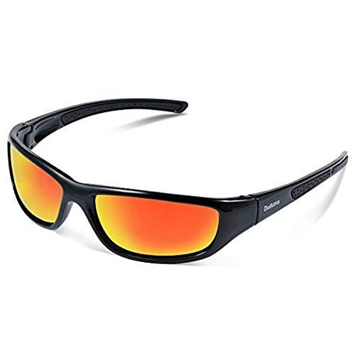 Duduma Tr8116 Polarisierter Sport Sonnenbrille für Herren und Damen Ski Fahren Golf Laufen Radsport Superleichtes Rahmen (Schwarz Rahmen mit Rot Spiegellinse)