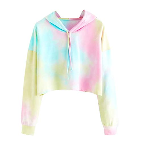 TWIFER Damen Hoodie Gedruckt Patchwork Sweatshirt Langarm Crop Pullover Tops Bluse Full Zip Knit Top