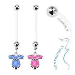 Bio-onesies (Baby Onesie Dangle Bio Flex Pregnancy Navel Ring - Schwangerschaft Bauchnabelpiercing)