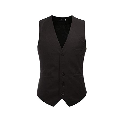 Mens Designer Herringbone Vintage Style Slim Männer Waistcoats Modernas Lässig Casual Business Waistcoat Slim Fit Hochzeit Smoking (Color : Schwarz 1, Size : M) -