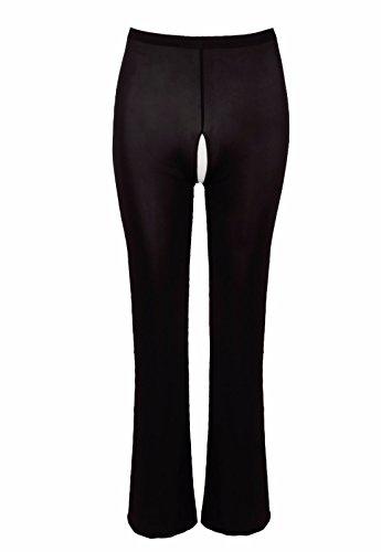 YiZYiF Transparente Leggings Damen Netz Bell-Bottom Hosen Reizwäsche Dessous Erotik Unterwäsche M XL Schwarz (Ouvert) XL