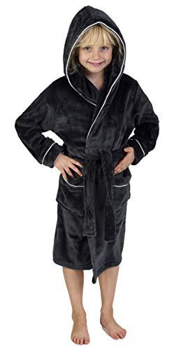 CityComfort Bademantel Jungen Morgenrock Jungen mit Taschen Schwarz Grau Sehr Warm (5-6 Jahren, Kohlengrau)