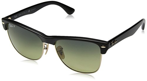 RAYBAN JUNIOR Herren Sonnenbrille Clubmaster Oversized, Demigloss Black/Greengradientblue-Polar, 57