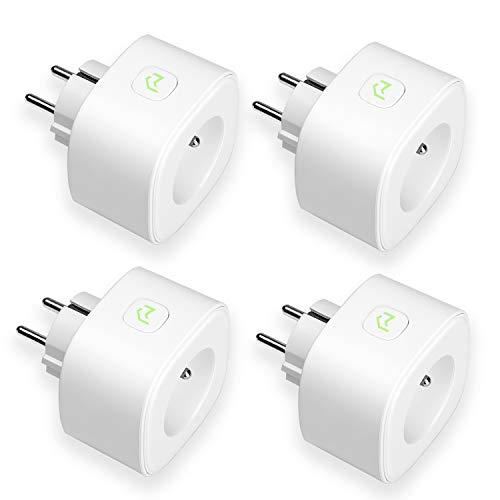 Enchufe Inteligente, Wi-Fi Smart Plug, Mide el Consumo, 16A 3680W, con Control Remoto. Compatible con Alexa, Google Assistant e IFTTT. Modelo MSS310. Paquete de 4