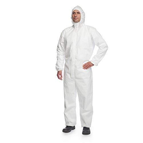 DuPont ProShield 20 | Schutzanzug mit Kapuze, Kategorie III, Typ 5 und 6 | Weiß | Größe L -