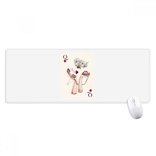beatChong Spielkarten Herz Q Muster Griffige Mousepad Große Erweiterte Spiel Büro titched Kanten Computer-Mat Geschenk