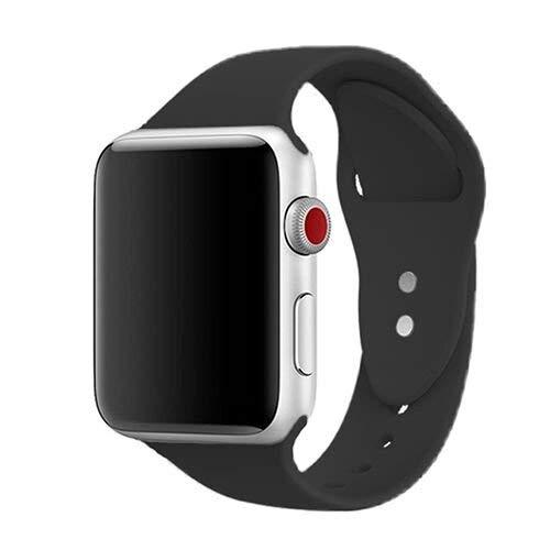 Für Apple Watch Armband 42mm, ToveLo weich Silikon Ersatz Sport iWatch Armbändern für Apple Watch Serie 1, Serie 2,Serie 3,Sport,Edition,Hermès, M/L Schwarz