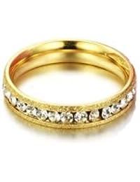 bigsoho Fashion Golden Titanium Stainless Steel Cubic Zirconia Couple Eternity Ring Size J 1/2,L 1/2,N 1/2,P 1/2,R 1/2,T 1/2