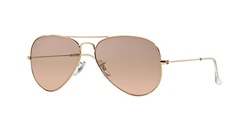 RAY-BAN RB 3025 AVIATOR SUNGLASSES (58 mm, 001/3E GOLD/GRADIENT PINK)