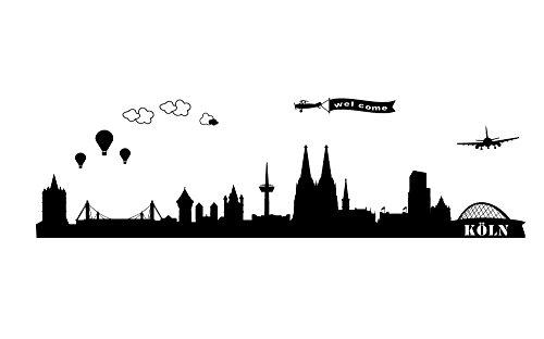 Wandtattoo wandaufkleber Aufkleber Wandsticker wall sticker Wohnzimmer Schlafzimmer Kinderzimmer City Stadt Köln Cologne Skyline Landschaft 30 Farben zur Wahl wst01 motiv1 (Visualisierung)