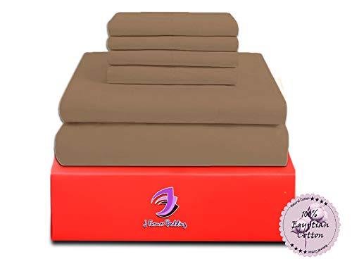 JF Bedding Jose Farmer Bettwäsche Hotelqualität Fadenzahl 1000100% ägyptische Baumwolle Ultra Soft 4Stück Bed Sheet Set Fitt bis 38,1cm Deep Pocket Set (California-King, Taupe, Massiv) (20-zoll-pocket-king-blatt)