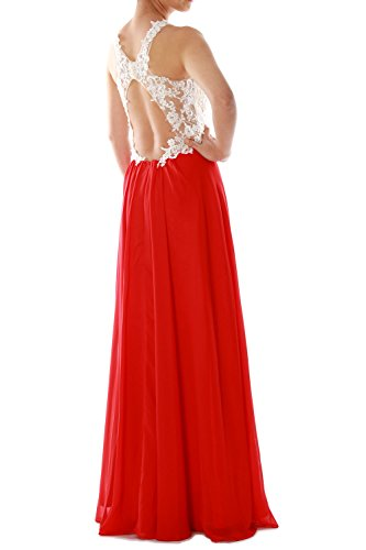 MACloth Women High Neck Lace Chiffon Long Prom Dress Formal Party Ball Gown Türkis