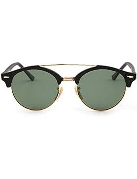 Gafas de Sol Polarizadas Espejo Clubround Redondas Semi Sin Marco Anteojos Hombre Mujer