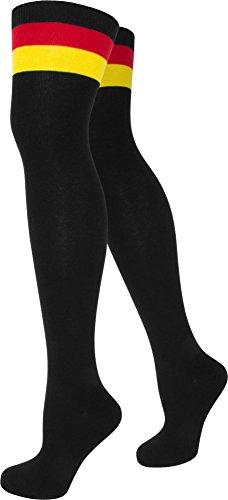 normani Top modische Damen Overknees in verschiedenen Designs/Baumwolle mit Elasthan in verschiedenen Farben zur Auswahl Farbe Deutschland/Schwarz Größe Onesize