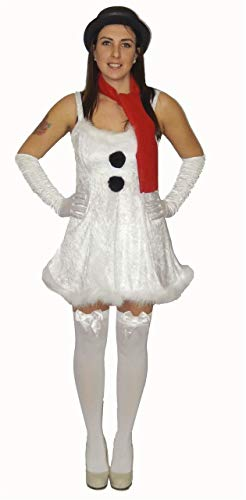 Kostüm Lady Dragon Sexy - The Dragons Den Ladies White Snowman Christmas Party Festive Fancy Dress Costume[Dress and Scarf]