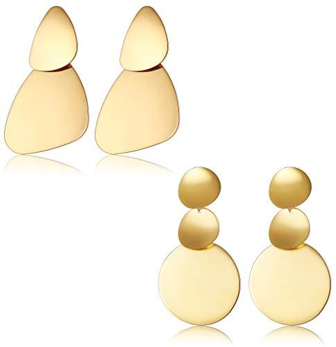 BESTEEL 2Pairs Edelstahl Geometrische Runde Ohrringe für Frauen Damen Vintage Ethnische Auffällige Ohrringe Große Oval Boho Ohrringe Set Modeschmuck Gold/Silber Muttertagsgeschenk
