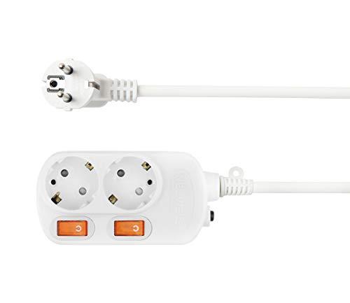 NEUVIELE 2 Fach Steckdosenleiste einzeln schaltbar, PC Feuerfest 1,5m Kabel Mehrfachsteckdose Überspannungsschutz Steckerleiste [3300W 250V/16A] Wandmontage, weiß