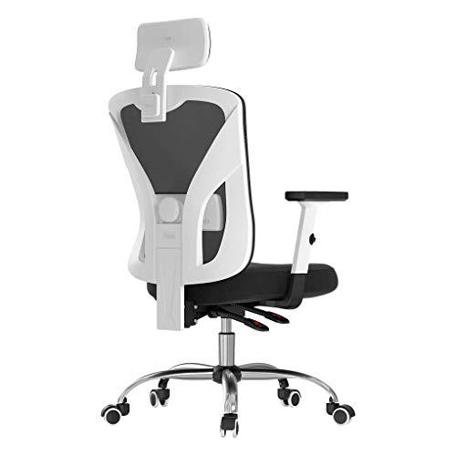 Hbada Sedia da Ufficio ergonomica Sedia da Ufficio in Rete Sedia da Ufficio Regolabile braccioli Supporto Lombare (Bianco)