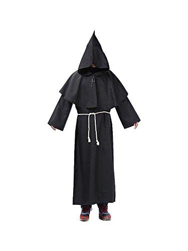Preisvergleich Produktbild Honeystore Unisex Halloween Hexenmeister Kostüme Kaplan Cosplay Christ Allerheiligen Kleider Schwarz XL