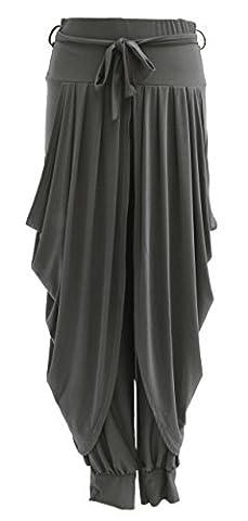TEXTURE ONLINE Ladies Womens Lagenlook Layering Dhoti Tie Drape Pleated Loose Baggy Boho Harem Ali Baba Trouser Pants Leggings Joggers One Size UK 8-16 (One Size, Dark Grey)