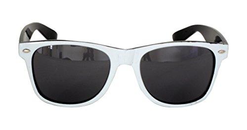 Foster Grant SPVL15727 FG116 Herren Abgerundete Viereck, Full-Frame-Sonnenbrille Schwarz-Weiß-Kunststoff-Rahmen und Arme UV400 Black Linsen 100% UV-Schutz CAT 2