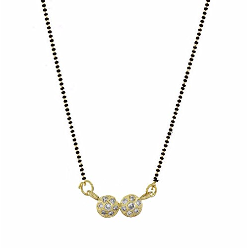 Archi Collection Gold Plated Jewellery American Diamond Mangalsutra Pendant with Chain for Women