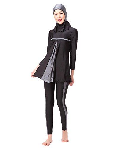 Badeanzug Damen Schwimmanzug Muslim Islamischen Full Cover Wassersport Top + Hosen UV Schutz Anzug,Gr.42