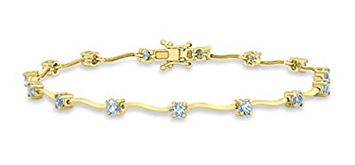 Carissima Gold 9ct Yellow Gold Blue Topaz Wave Bar Bracelet of 19.5cm/7.75""