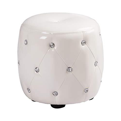 Woltu sh37ws pouf poggiapiedi sgabello basso sedia rotondo mdf pvc ecopelle bianco lucido