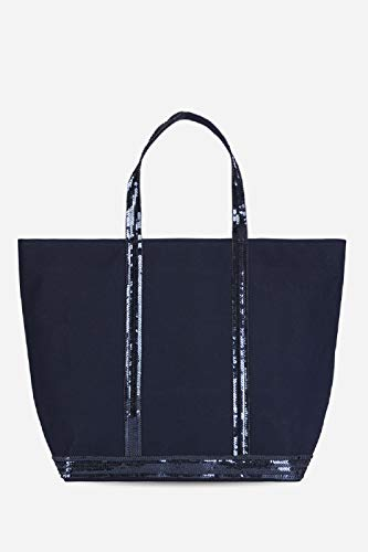 Vanessa Bruno Femme Cabas medium + -coton et paillettes, Bleu (781 Pyrite), unique