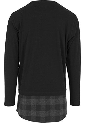 URBAN CLASSICS - Long Shaped Flanell Bottom L/S Pocket Tee (black-black-charcoal) black-black-charcoal