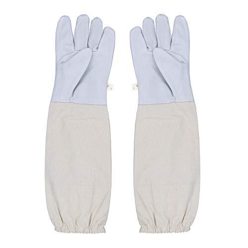 reamtop Bienenzucht Handschuhe Ziegenleder ein Paar Bienenzucht Handschuhe mit belüftetem Ärmel Große Perfekt Schutz für die Anfänger Imker