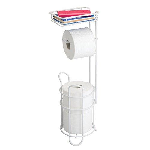 mDesign Toilettenpapierhalter – eleganter Papierrollenhalter aus Metall – WC-Rollen-Halter mit Regal – praktische Aufbewahrung fürs Badezimmer – mattweiß