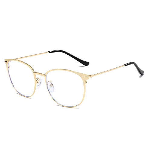 Easy Go Shopping Männer Und Frauen Mode Plain Brille Metall Runden Rahmen Anti Blue Light Classic Computer Brille Für Sonnenbrillen und Flacher Spiegel (Color : Gold, Size : Kostenlos)
