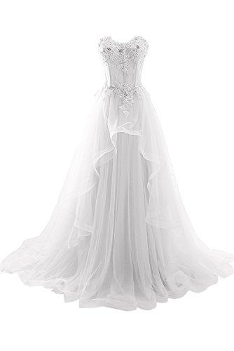 ivyd ressing robe haute qualité porteur Los ligne dentelle & mousseline longue a Prom Party robe robe du soir Weiß