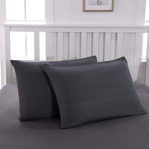 QZY 2er Pack Kissenbezug 50x75cm Hochwertig & Qualitäts Kissenhülle mit Reißverschluss 100% Microfaser in 3 Farbe Dunkel-Grau/Schwarz/Rosa/Weiß