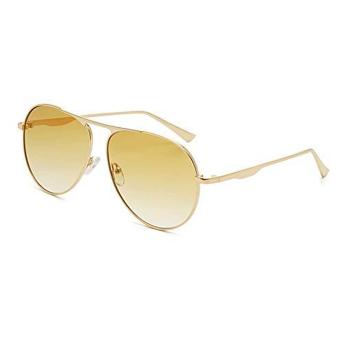 Einfache Brille Aviator Polarized Metal Women Men 100% UV-blockierende Sonnenbrillen (Farbe : Gelb, Größe : Casual Size)