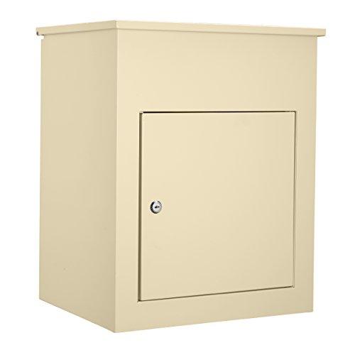 Mari Home Großer Briefkasten Außenbereich mit Montageset | Wandmontierter Stahl-Briefkasten | Verschließbarer Tür & Leicht zu öffnende Klappe | Ideal fürs Zuhause| 43.7 x 34.6 x 58 cm | Crème