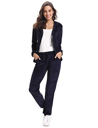 Abollria Damen Hausanzug Velours Trainingsanzug mit Samtoptik Kapuzejacke mit Reißverschluss Hose, Blau, Gr.- M