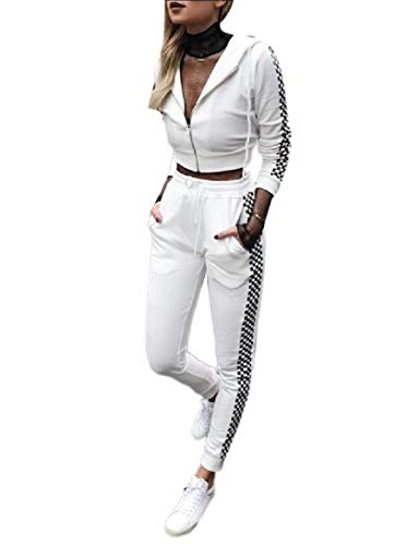 CuteRose Women's Running Plaid Hoode Zip-Front Leisure 2 Piece Tracksuit White ()