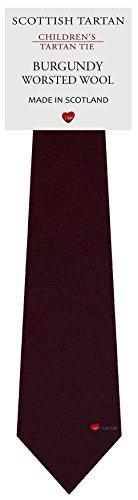 I Luv Ltd Garçon Tout Cravate en Laine Tissé et Fabriqué en Ecosse à Plain Burgundy