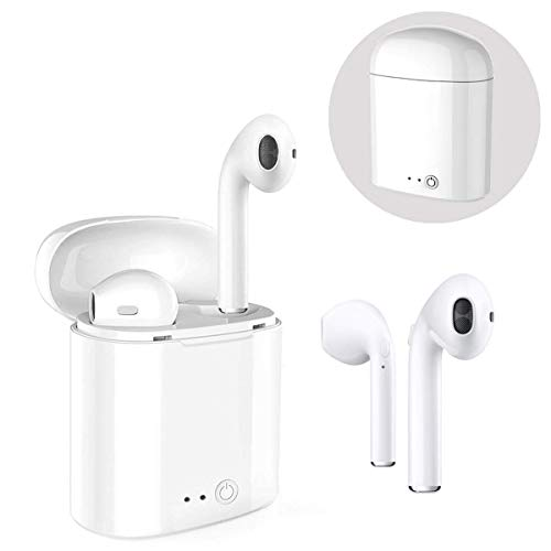 Qcws cuffie bluetooth palestra,cuffie bluetooth wireless senza fili,mini cuffie bluetooth, smartphone, wireless v4.2 + edr, for airpods phone x/8/7/6/5/android1 paio,bianco (bianco)