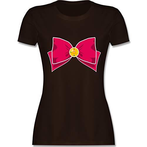 Karneval & Fasching - Superheld Manga Moon Kostüm - M - Braun - L191 - Damen T-Shirt Rundhals