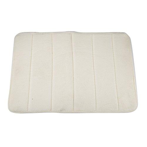 oobest Rutschfeste Memory Foam Bad-Teppiche Badezimmer Streifen Teppich Bad-Teppiche saugfähig Coral Fleece-Matte Fußmatte Teppich weiß (Schaum-bad-matte)