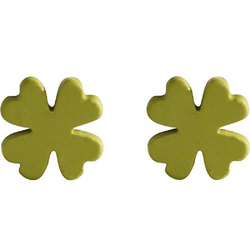 S925 Sterling Silber Ohrstecker, Green Four Leaf Lucky Grass Blumenornamente Damen 0.6cm - Leaf Weihrauch