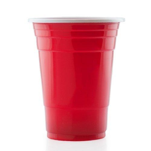 Lumaland Partybecher 100 Stück 16 oz Beer Pong Trinkbecher extra stark rot
