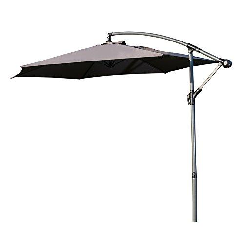 Ziigo Sonnenschirm Rechteckig Ampelschirm 295cm Schirm Balkon mit Handkurbel UV-Schutz Bespannung Kurbelvorrichtung Marktschirm Rechteckig Knickbar Gartenschirm Grau