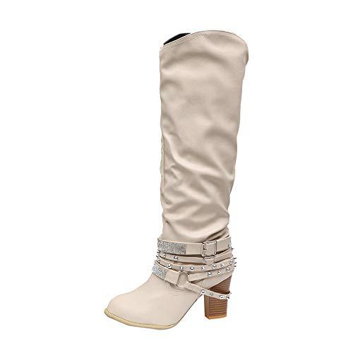 (Blockabsatz Winterstiefel Damen,Elecenty Frauen Mit Strass Stiefel Hoch Absatz Stiefeletten Gürtelschnalle Lederstiefel Boots Langschaftstiefel)