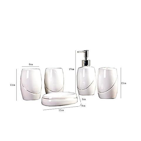 Yvonnelee Keramik Badezimmerset Serie Bad Accessoire Set WC Set Lotion-Flaschen Seifenschale