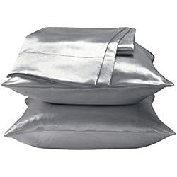 PerGrate Parure de lit en Satin Doux avec Housse de Couette Queen Size Solid Color Accessoires pour Chambre à Coucher argenté